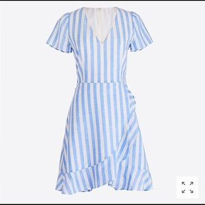 j crew Striped faux-wrap dress